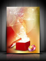 Caixa de presente de árvore de Natal branca em fundo esfumaçado