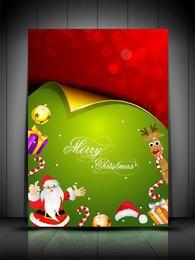 Tarjeta de Navidad rizada con garras de Santa y adornos