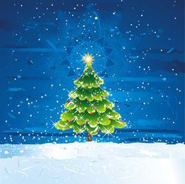 Decorative Christmas Tree on Frosty Landscape