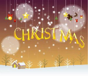 Hanging Christmas Typography Snowy Background