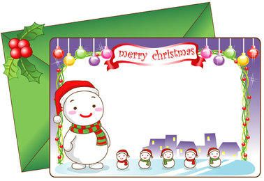 Cartoon Snowman with Decorative Christmas Card