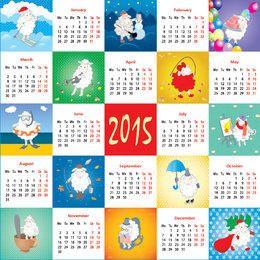Calendário 2015 decorativo do cordeiro Funky do estilo