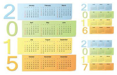 Simplistic Long Sticky Note 2015 Calendar