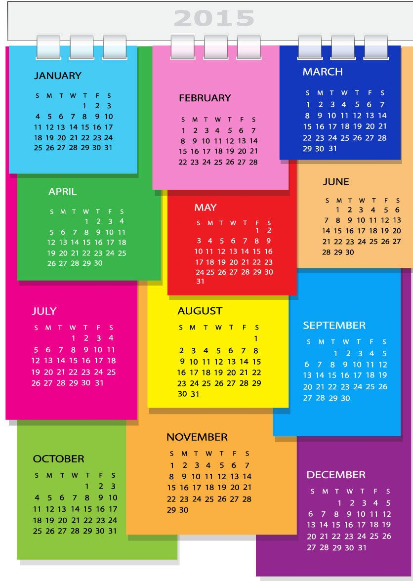 Colorful Dairy Page Spiral Binding 2015 Calendar - Vector download