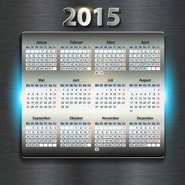 Calendario de año nuevo digital 2015 brillante