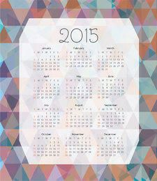 2015 Calendar on Colorful Polygonal Background
