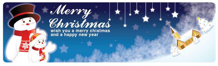 Banner de Natal azul com boneco de neve fofo