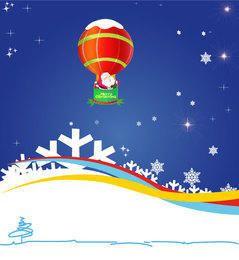 Papai Noel voando pelo balão de ar no fundo azul