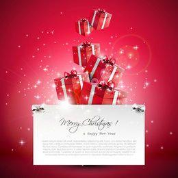 Cajas de regalo de Navidad que fluyen 3D sobre fondo rojo