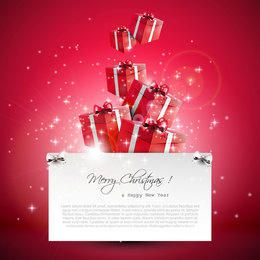 Flowing 3D Xmas Gift Boxes on Red Background