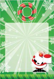 Green Xmas Card with Santa Claus & Snowflakes