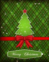 Tarjeta de Navidad verde del árbol del corte del papel