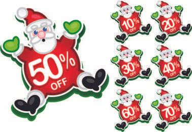 Happy Santa Claus Discount Stickers
