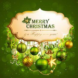 Rótulo de Natal decorativo sobre fundo verde brilhante