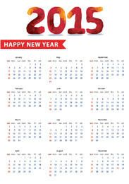 Polygonal Typography 2015 New Year Calendar