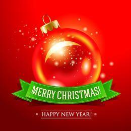 Bauble vermelho brilhante com fita de Natal abaixo