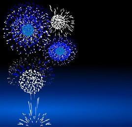 Paquete de fuegos artificiales salpicado azul