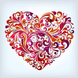 Colorful Swirling Floral Shaped Heart