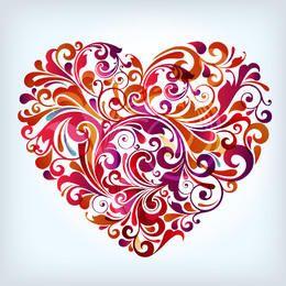 Corazón en forma de remolino floral colorido