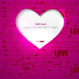 White Ripped Heart Pink Background with Love Tags