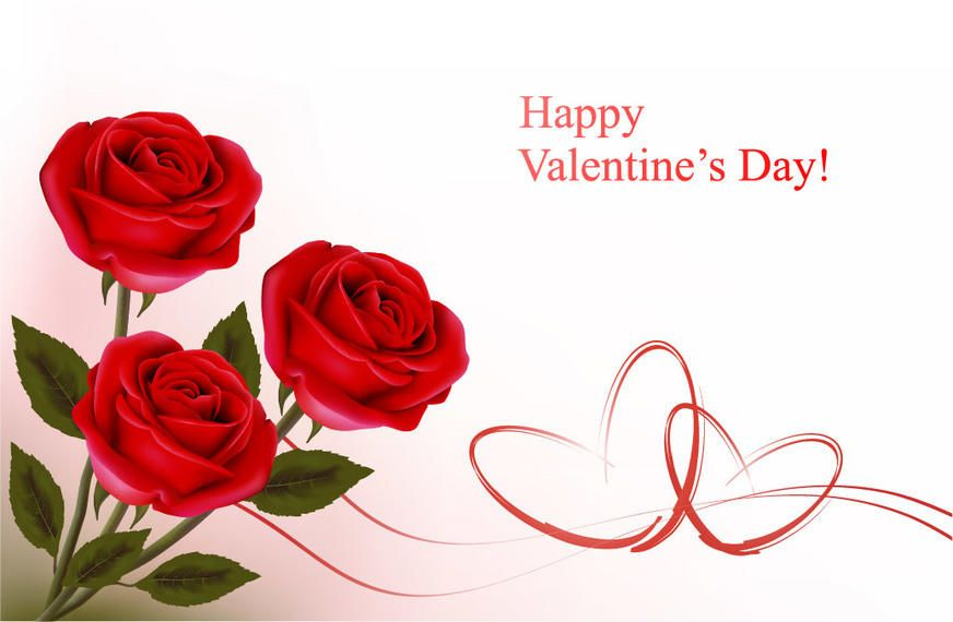Realistic Roses Valentine Card Template Vector download – Template for Valentine Card