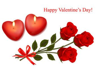 Tarjeta de San Valentín con corazones y ramo de rosas