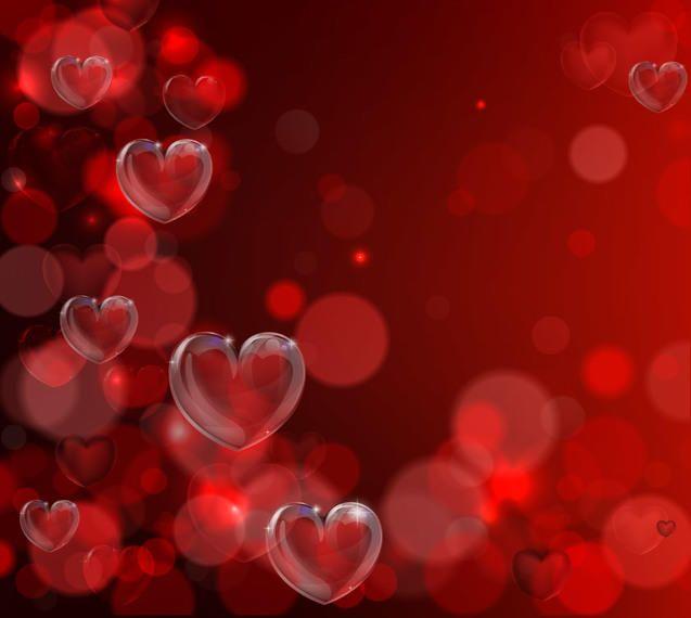 fluorescent bokeh hearts valentine background