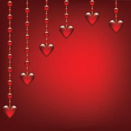 Glossy Hearts Hanging on Beads