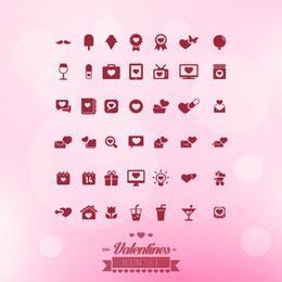 Ícones de Valentine liso minimalista