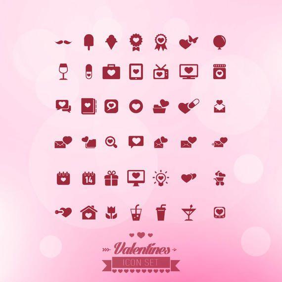 Flat Minimalist Valentine Icons