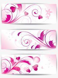 Banners florais roxos com corações