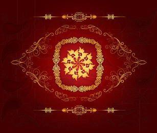 Adornos decorativos dorados fondo rojo