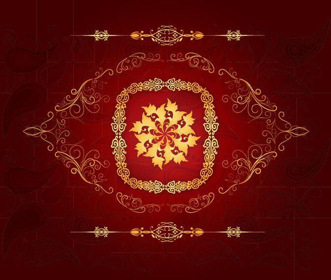 Ornamentos decorativos dourados fundo vermelho