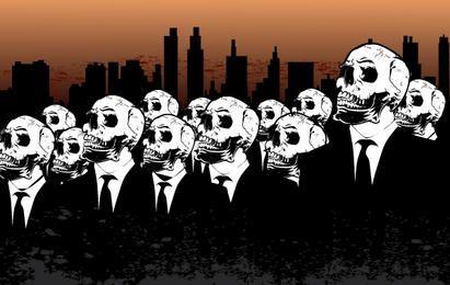 Menschen mit Totenköpfen und Stadt dahinter