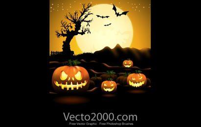 Cartel de la noche de Halloween de la calabaza