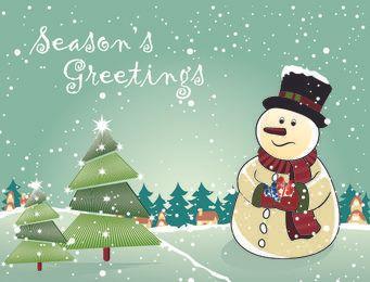 Muñeco de nieve con árboles de Navidad y regalos
