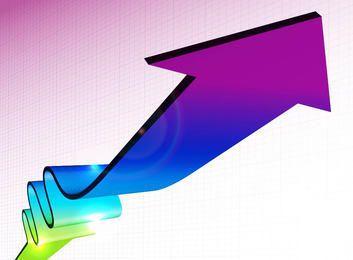 Fondo de negocios en negrita con flecha 3D y líneas