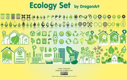 Conjunto de iconos de ecología creativa verde