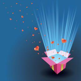 Tarjeta de San Valentín corazones flotando fuera de una caja