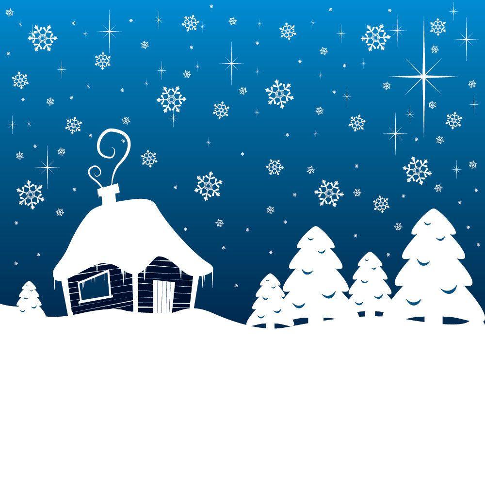 Tarjeta de felicitación del paisaje nevado de Navidad - Descargar vector