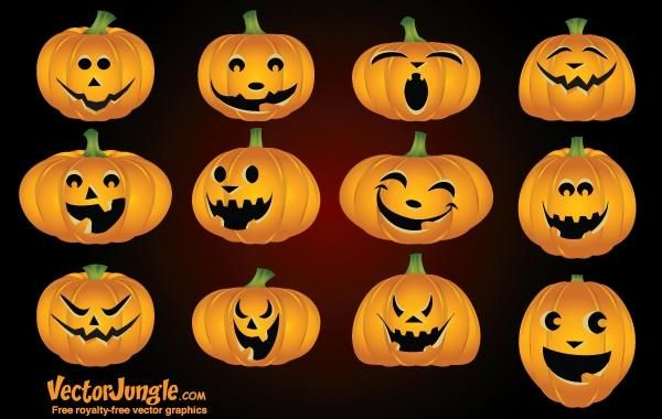funny pumpkin face pack vector download