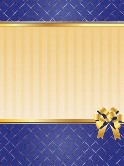 Blue Golden Blank Invitation Card