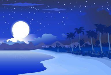 Paisaje de medianoche azul playa