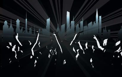 Crowds with City & Ray Background