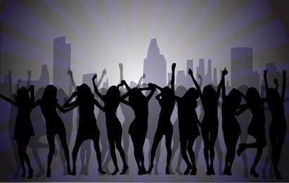 Dancing Girls with City Background