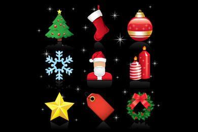 Pacote de ícones de enfeite de Natal brilhante