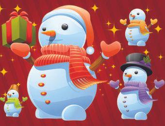 Lindo paquete de muñeco de nieve de invierno con regalos