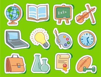 Funky School Icon Set en Estilo Etiqueta