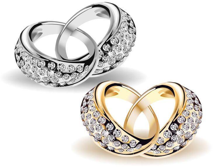 Oro y anillos de diamante de la boda hermosas con enclavamiento ...