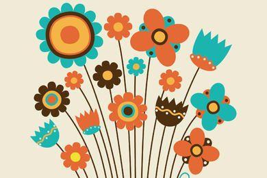 Pacote de flores desenhadas crianças Funky